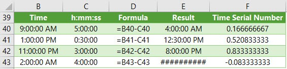 subtract time in excel