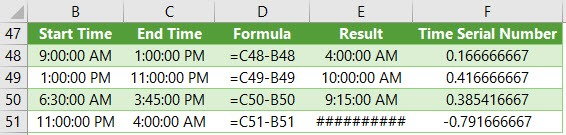 subtract time from times in excel
