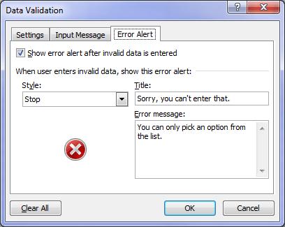 data validation error alert dialog box