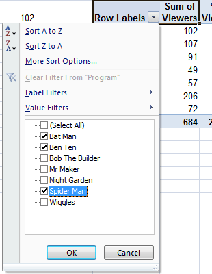 Filter Pivot Table