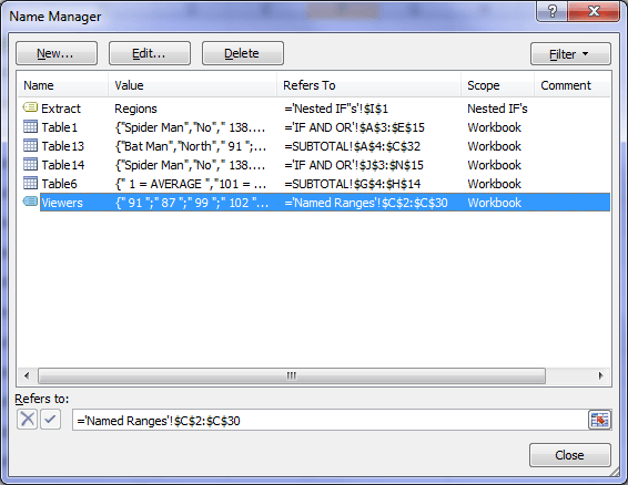 Name Manager Dialog Box