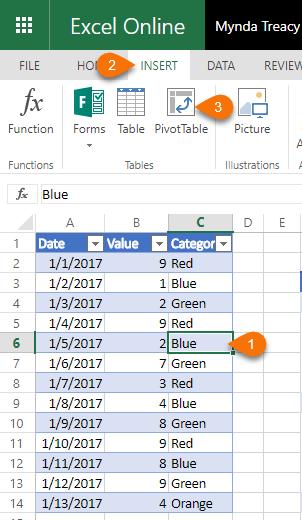 Excel Online PivotTables • My Online Training Hub