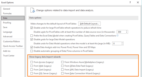 Excel Options settings