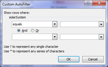 custom filter dialog box