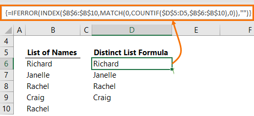 Excel Extract a Unique List of values using a formula