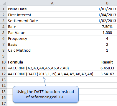 Excel ACCRINT Formulas