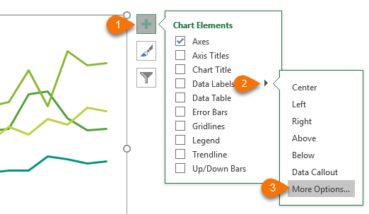 Dynamically label excel chart series lines my online training hub this will open the format data labels panedialog box where you can choose series name and label position right as shown in the image below as shown in ccuart Choice Image