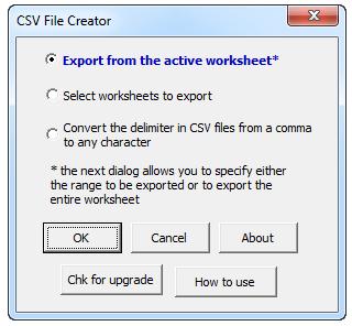 CSV File creator Excel addin