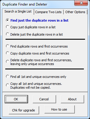 Duplicate Remover Excel Addin tab 1