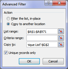Excel Advanced Filter