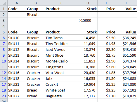 Excel Advanced Filters
