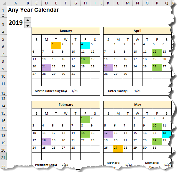 Excel Calendar Template Date Formulas Explained My Online Training Hub