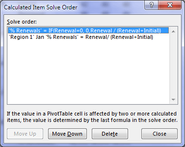 change solve order of calculated items