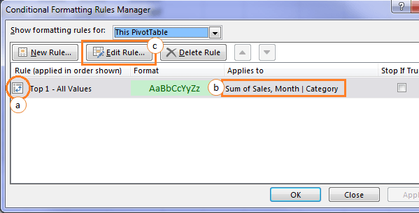 manage conditional formats
