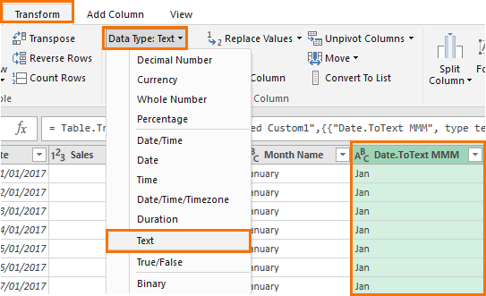 change data type to text
