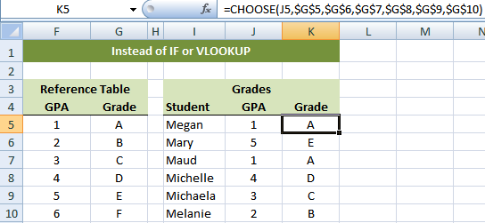 CHOOSE function instead of IF and VLOOKUP