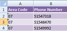 Excel CONCATENATE example
