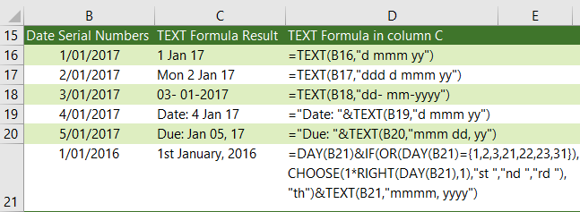 convert dates to text