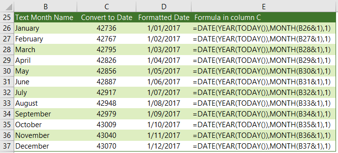 convert month names to a dates