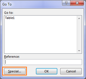 open the go to dialog box