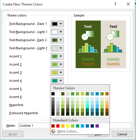 create new theme colors