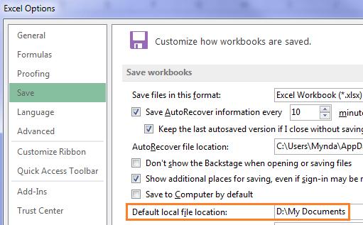 custom Excel Options