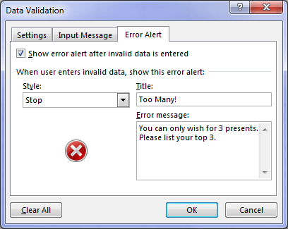 Data Validation error message