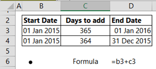 Calaulcate excel end of period date example