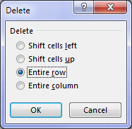 delete rows dialog box
