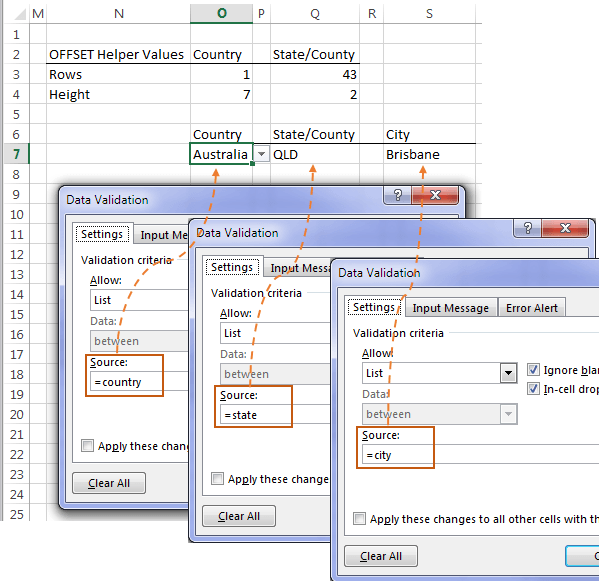 set up Excel dependent data validation lists