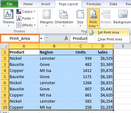 Excel Dynamic Print Area