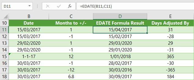 Excel EDATE formula examples