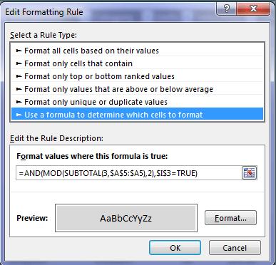 edit formatting rule