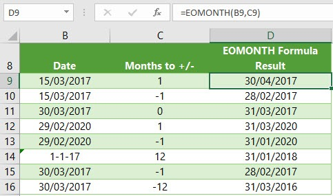 Excel EOMONTH formula examples