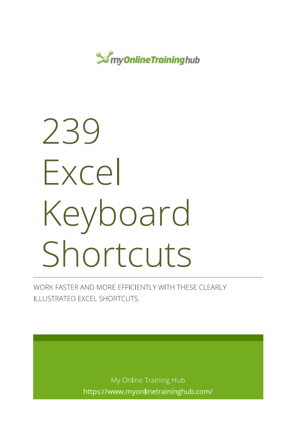 239 Excel Shortcuts for Windows • My Online Training Hub