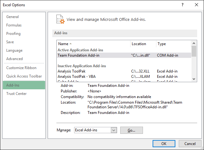 Excel options, add-ins