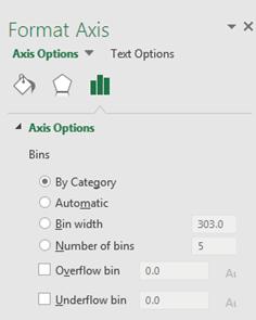 pareto chart options menu