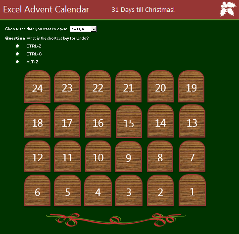 Excel Advent Calendar