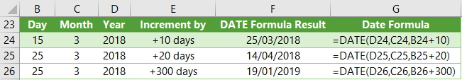 add days to dates with Excel DATE Function