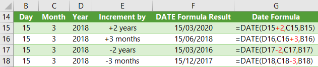 add or subtract time with Excel DATE Function