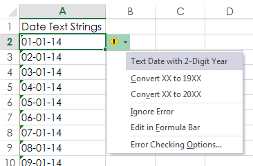 Excel error checking to fix dates formatted as text