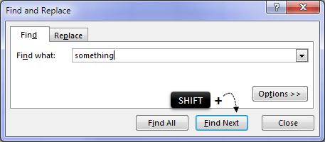 Excel find backwards