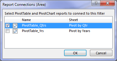 Connecting Slicers to multiple PivotTables