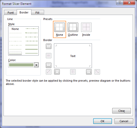 Remove border from a Slicer