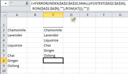 Excel remove blank cells from list