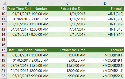 Extract Date or Time from a Date and Time