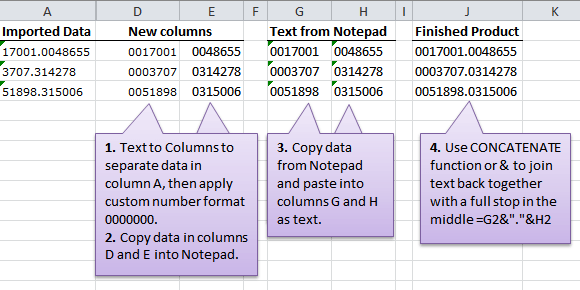 Excel Tidy up Data