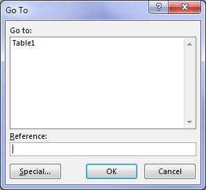 Go To Dialog box