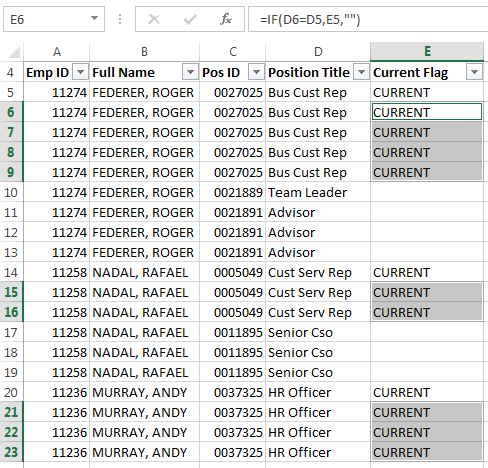 Excel Fill Down blank cells result