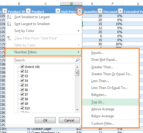 Excel Number Filters